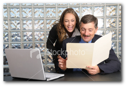 double the length with stock photos of business people laughing