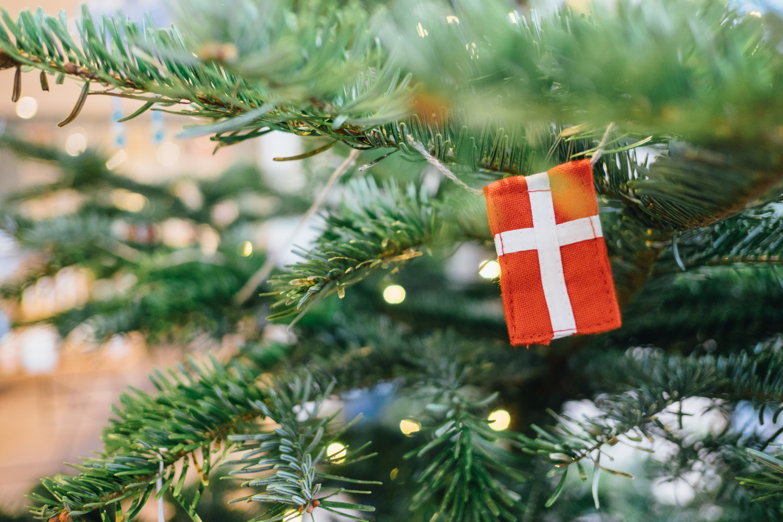 A flag on a christmas tree