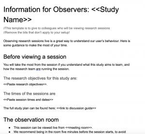 Observer Information Form